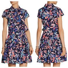 """DIANE VON FURSTENBERG Scarlet Floral Shirt Dress Diane von Furstenberg multicolored Scarlet dress Cotton-poplin Detachable tie belt Button fastenings along front 100% cotton Dry clean Fits true to size, take your normal size Cut for a loose fit Mid-weight, non-stretchy fabric Model is 5'10"""" and is wearing a US size 2 Diane von Furstenberg Dresses"""