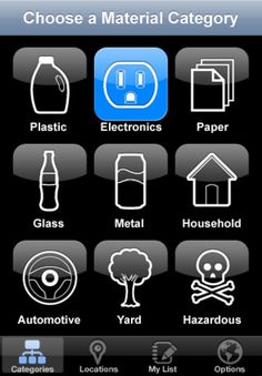 My Recycle List iPhone app: Quickly find recycling locations nearby that accept items you pick from a list