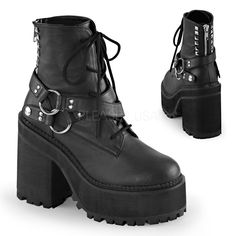 """4 3/4""""(12cm) Block Heel, 2 1/4""""(5.75cm) Cleated Platform Lace-Up Front Ankle Boot Featuring Wrap Around Snap-On Strap w/Double D-Rings at Outer Side, Half Studded Back Zip Closure"""