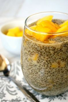 Clean Eating Vanilla Bean and Mango Chia Seed Pudding...raw, vegan, gluten-free, dairy-free, paleo-friendly and contains no refined sugar | The Healthy Family and Home #rawfoods #vegan #glutenfree #paleo #cleaneating #chiapudding