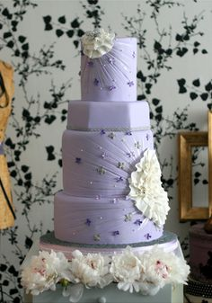Stunning light purple wedding cake.