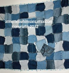 Upcycled Blue Jean Quilts by annetteswhimsies on Etsy, 75.00 added pockets for something xtra fun
