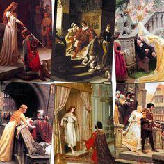 Edmund Blair Leighton: 7x 7x5 Pre-Raphaelite prints