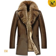 CWMALLS® Billings Brown Shearling Leather Coat CW858037 - Men's brown shearling leather coat with large raccoon fur collar, much warm and luxurious, whether for business or leisure time it can be a wonderful choice. The fur lined coat can keep you cozy even 20 degrees below zero or at ice age.