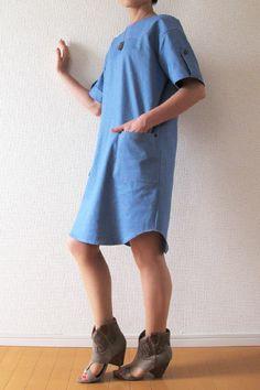 Topaz / Half Sleeve Sack Dress - Tamanegi-kobo