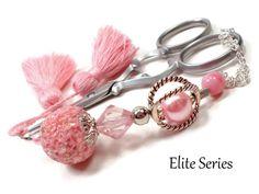 Pink Silver Scissor Fob Beaded Scissor Keeper by TJBdesigns