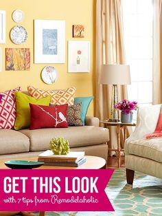 Get This Look: Color Me Casual Living Room | 7 tips from Remodelaholic.com #getthislook #livingroom #lovecolor @Remodelaholic .com .com