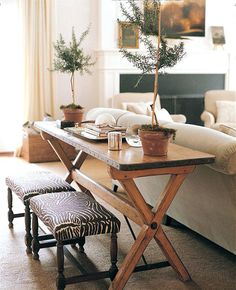 Table In Your Dining Room Can Pull Outfit Creatin Image Result For Small Ottomans Behind Sofa