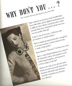 A little holiday inspiration - Diana Vreeland's 'Why Don't You' - Harper's Bazaar, December 1936.