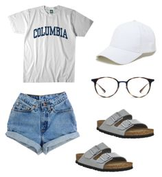 """""""Untitled #51"""" by grubbyandsophia on Polyvore featuring Levi's, Birkenstock, Columbia, Sole Society and Ray-Ban"""