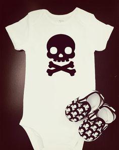 Skull Cross and Bones Onesie Crib Shoe Set  Baby Boy by DeyaStudio, $30.00