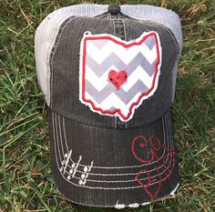 Ohio State University Buckeyes Baseball Bling Ladies Womens Trucker Hat OSU by Chasing Elly