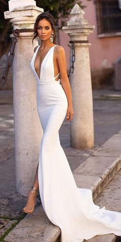 51 beach wedding dresses perfect for destination weddings beach wedding dresses sheath simple deep v neckline with train alamourthelabel weddingforward wedding bride mutter der braut kleider outfits ideen fr den sommer Simple Sexy Wedding Dresses, Dream Wedding Dresses, Bridal Dresses, Wedding Gowns, Wedding Bride, Wedding Beach, Mermaid Wedding, Post Wedding, Evening Wedding Dresses