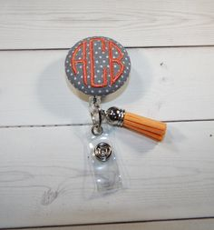 Retractable ID Badge Holder Reel   Fabric Button tassel chic / cute / preppy / fabric / covered button / clip-on / retractable cord / patterned / co-worker or school gifts