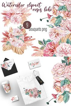 Watercolor Rose, Watercolor Illustration, Graphic Illustration, Illustrations, Dried Flowers, Pink Flowers, Rose Clipart, White And Pink Roses, Drawing Clipart
