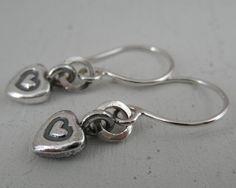 Heart Sterling Silver Earrings. Dangling Short Rustic. by lunamora, $31.00
