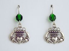 Sterling Silver stylised Claddagh Earrings-celtic-Irish-Ireland- Eire-love,green