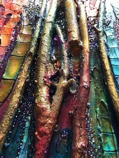 The healing flow, modern vertical painting with crackles, branches, diamonds…