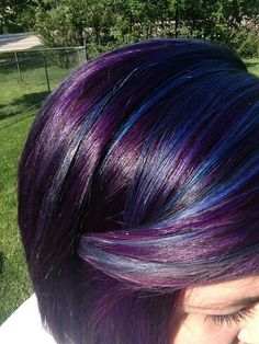 Violet underneath with blue highlights purple hair violet hair this with magenta too and probably turquoise instead of blue peekaboo highlights hairpurple pmusecretfo Images