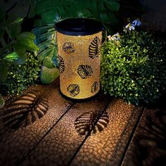 Ingenious & Gorgeous Design: Inspired by the combination of nature and technology, this solar lantern using monstera leaf design with hollowed-out exquisite pattern decor to build the artwork. Retro metal coating shining out soft, warm lighting cast a mysterious and romantic shadow. Long-endurance Solar Powered: The outdoor lanterns are topped with high-efficiency solar panels, turned on the switch, placed in the sun to charge during the day. When night falls, the light will automatically go Outdoor Solar Lanterns, Traditional Lighting, Solar Lights, Leaf Design, Creative Gifts, Vintage Metal, Light Decorations, Gold Leaf, Gifts For Family