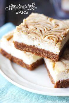Cinnamon Roll Cheesecake Bars | Creme De La Crumb Cinnamon Roll Cheesecake, Cheesecake Bars, Cheesecake Recipes, Dessert Recipes, Marshmallow Cheesecake, Toasted Marshmallow, Tolle Desserts, Just Desserts, Delicious Desserts
