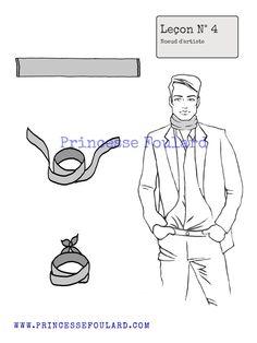 db67b88da40a lecon numéro 4   nœud de artiste pour homme Noeuds De Foulard, Cravates,  Mode