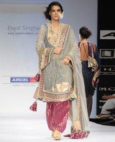 Ash Gray Suit with Crystal Embroidery by Payal Singhal | $ 1695 @ Exclusively.in