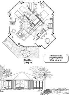 , 2 Bedrooms, 2 Baths, Patio Collection by Topsider Homes Condo Floor Plans, House Plans, Octagon House, Hawaii Homes, Home Upgrades, Round House, Architecture Plan, Tiny Living, Designs To Draw