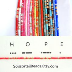MORSE code bracelet Stackable stretch with by ScissortailBeads