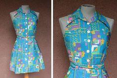 1970's Fresh Generation Blue Psy Dress  Size S