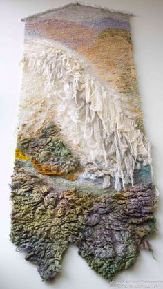 """""""Sea Change"""" - Eta Ingham Lawrie Exhibition starts 27 May at Old Low Light Heritage Centre, North Shields. Free style wall hangings - hand dyed wools & fleece"""
