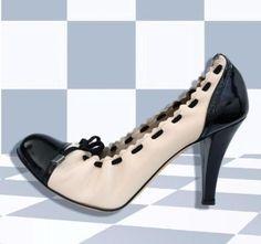BALLY Two-Tone Cap Toe Ballerina Heels 38/7.5
