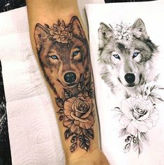 Tattoo Old School Wolf - - - Tattoo Hombre Bicep