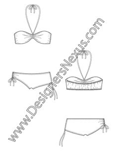 Swimwear Apparel Flat Sketch V6 2-Piece Bikini with Bandeau Halter Top and Boyshort Bottoms with Side Ruching