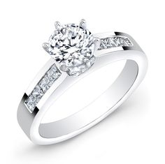 """BRD-2008A - This 14KT white gold engagement ring features 8 channel-set princess cut diamonds. It may also feature the center stone of your choice! See its matching band under """"Related Products"""" below."""
