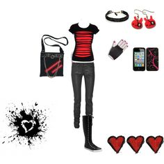 """black end red"" by foreverbroken on Polyvore"