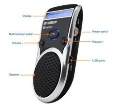 [Visit to Buy] Free Shipping Solar Powered Bluetooth Car Kit LCD Display Caller ID Hands Free Bluetooth Speaker in Car Handsfree Calling #Advertisement