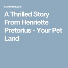 A Thrilled Story From Henriette Pretorius - Your Pet Land