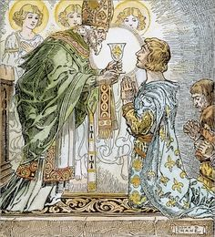 SIR GALAHAD & HOLY GRAIL. Sir Galahad, as King of Sarras, kneels at the sight of the Holy Grail. Drawing by Donn P. Crane, early 20th century.