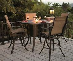 Beautiful and Affordable Cast Aluminum patio furniture in Pittsburgh. Fire Pit, Outdoor Decor, Bistro Patio Set, Outdoor Living Decor, Fire Pit Table Set, Patio Furn, Cast Aluminum Patio Furniture, Patio Accessories, Fire Pit Table