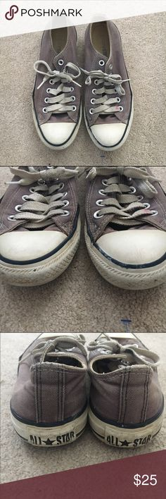 Converse grey low tops They have been pretty worn in. All signs of wear shown in pictures. Laces are dirty but can be easily replaced. Converse Shoes Sneakers