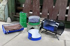 Oil Barrel, Metal Barrel, Garage Furniture, Barrel Furniture, Barris, 55 Gallon Drum, Welding Crafts, Metal Drum, Oil Drum