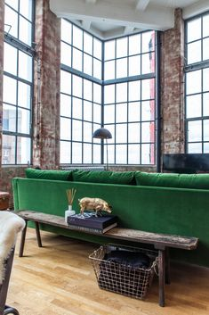 A London loft is filled with eclectic furniture finds, layered in fresh and unique ways. The result is a bright and bold home full of humor and style. Living Room Green, Small Living Rooms, Living Room Sofa, Living Room Furniture, Living Room Decor, Dining Room, Couch Furniture, Room Kitchen, Kitchen Dining