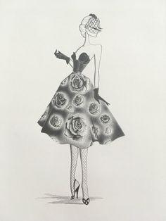 fashion illustration original pencil drawing by LinearFashions