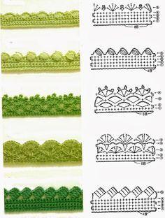 Crochet Borders crochet edging / borders (finish scarf with from bottom? Crochet Border Patterns, Crochet Blanket Border, Crochet Boarders, Crochet Lace Edging, Crochet Diagram, Crochet Chart, Crochet Trim, Easy Crochet, Crochet Edgings
