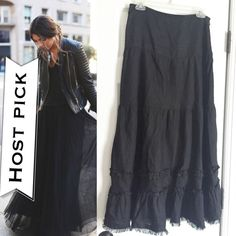 """SALE❗️WILLI SMITH bohemianstyle maxi skirt LIKE NEW CONDITION. 100% LINEN. Waist 27"""", maxi length. Zipper closure on the side. Cute ruffle detailing at bottom of skirt. Modeled pic courtesy of Pinterest & is for styling inspiration and to show how long skirt looks on. (Ask for measurements of length to ensure you're happy with how long it is) NO TRADES. Willi Smith Skirts Maxi"""