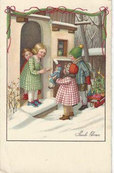 CHRISTMAS - ARTIST PAULI EBNER CHILDREN BRINING PRESENTS ON SLEIGH, SNOW, 1935