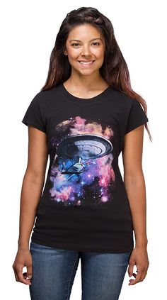 The Star Trek Galaxy Ladies' Tee will be your final frontier in fashion. It features the Enterprise D on a black cotton ladies' t-shirt and it looks Cool Outfits, Fashion Outfits, Geek Fashion, Cool Shirts, Star Trek, Graphic Tees, T Shirts For Women, Stars, Lady