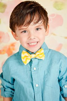 Little Boy Easter Yellow Chevron Clip On Bow Tie by DoodleDooz