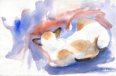 Siamese Cat Watercolor Painting  This particular painting is a quick study I did - I was playing with one of my favorite combinations of watercolors - french ultramarine + winsor orange. When combined they make the most beautiful granulating violet. LOVE!